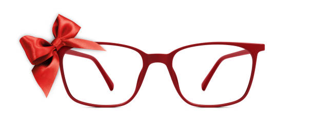 christmas eyeglasses gift card, red spectacles and red ribbon bow, isolated on white background - sale lenses stock photos and pictures