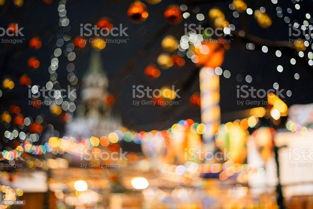 Christmas fair bokeh background stock photo