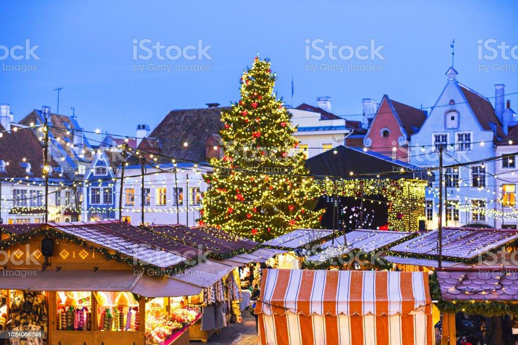 Christmas fair in Europe. Tallinn stock photo