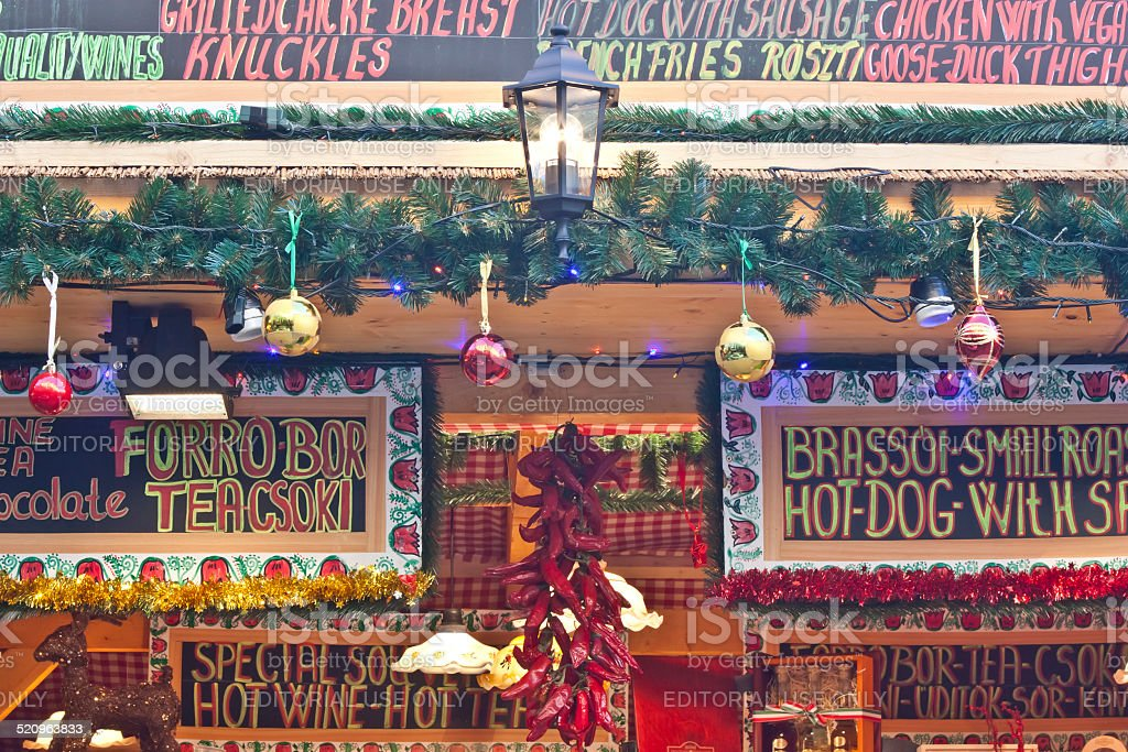 Christmas fair stand decoration stock photo