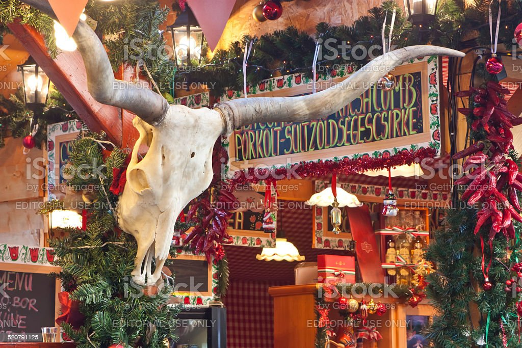 Christmas fair stand decoration with cattle antler stock photo