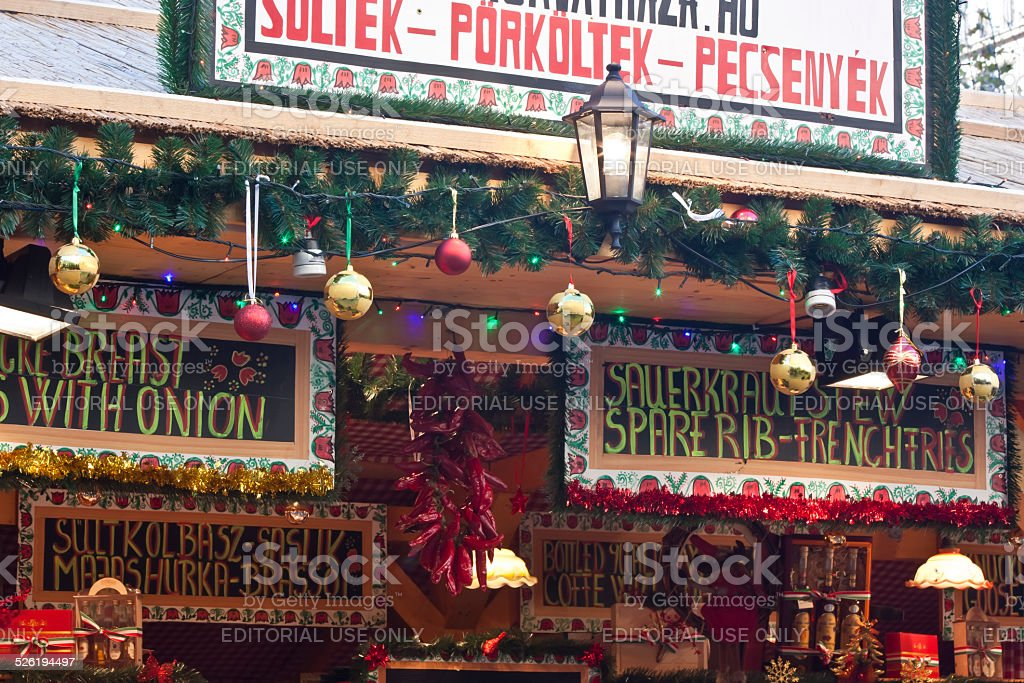 Christmas fair stand stock photo