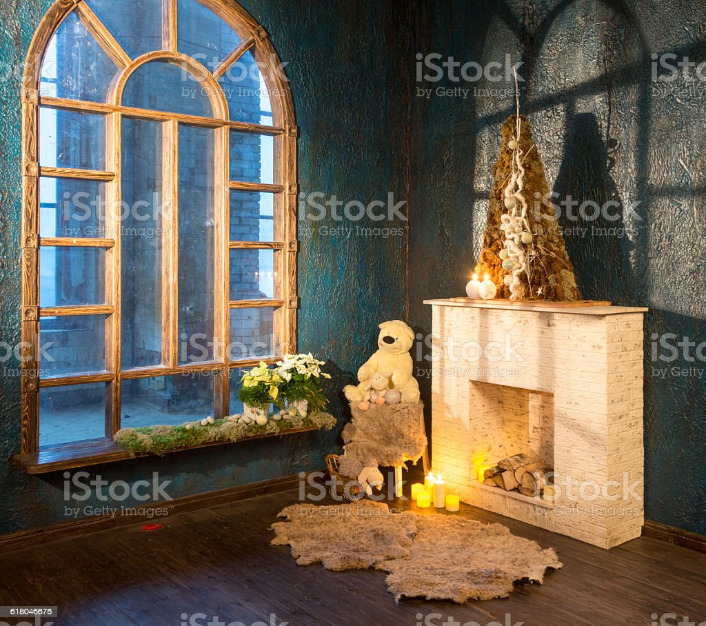 Christmas Fake Fireplace Near Old Big Window Stock Photo Download Image Now Istock