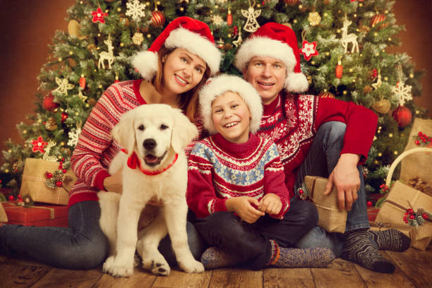 christmas family and dog under xmas tree, happy mother father child in red hats - family christmas imagens e fotografias de stock