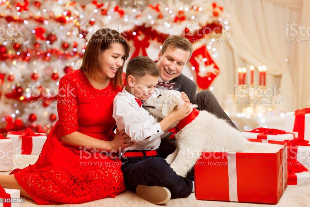 Weihnachtenfamilie Geben Hund Präsent Geschenk Glückliches Vater ...