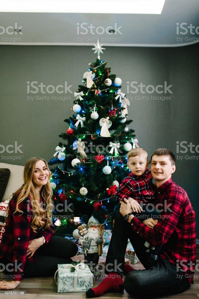 Christmas family give gift present box, Night Xmas. Merry Christmas...