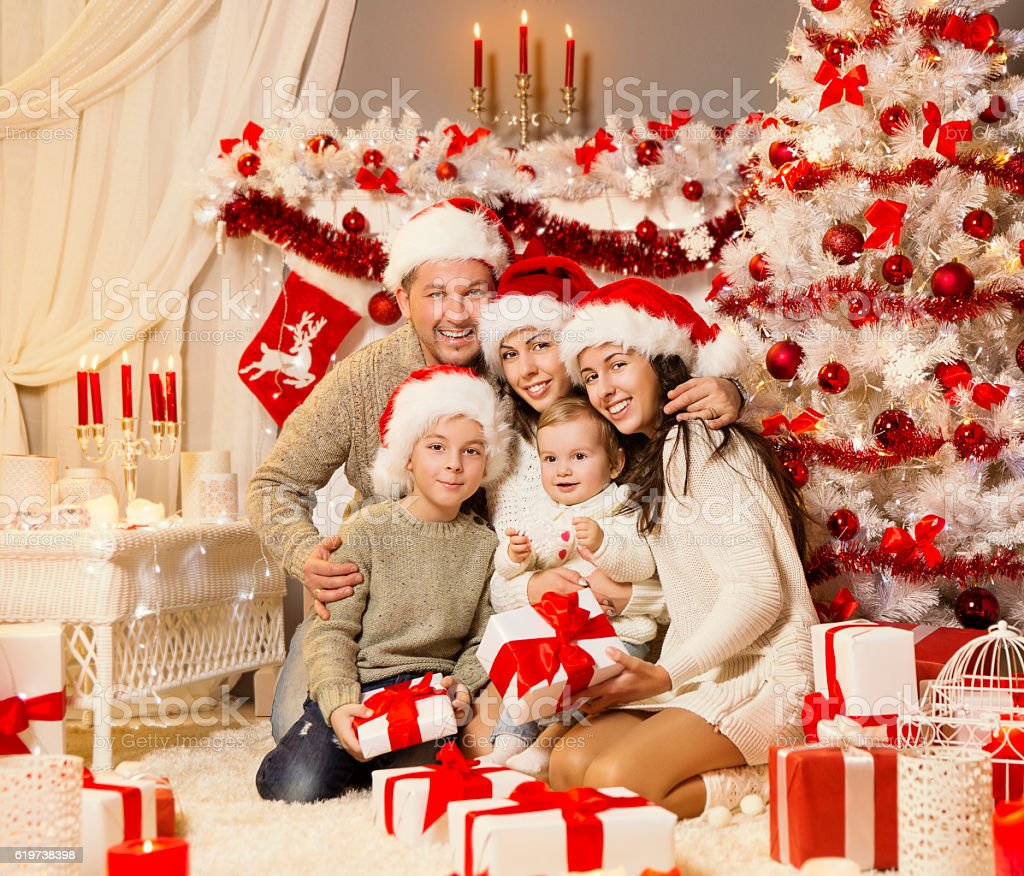 Christmas Family Portrait, Xmas Tree Presents Gifts, Holiday Celebration stock photo