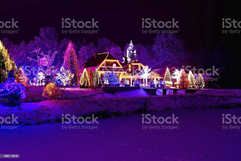 Christmas fantasy - park, forest & lodge in xmas lights - Royalty-free Bevroren Stockfoto