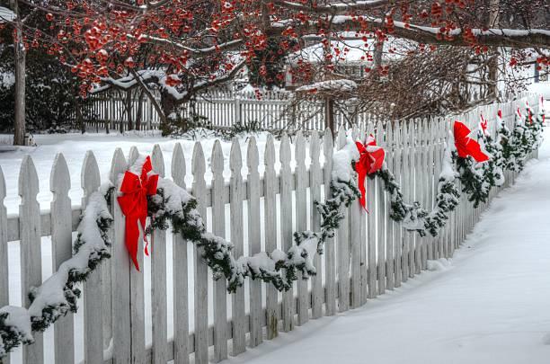 Christmas Fence stock photo