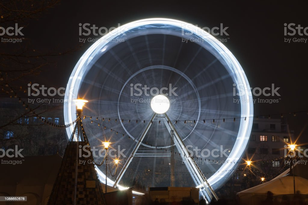 Christmas ferris wheel at Moravian square at advent time on December...