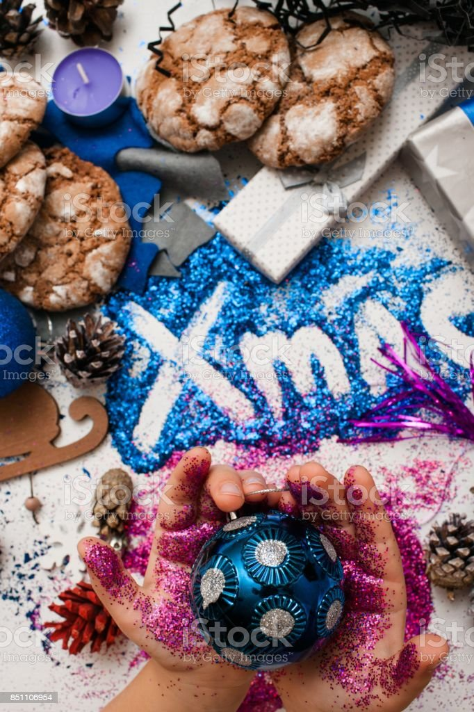 Christmas festive background reversed top view stock photo