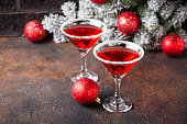 istock Christmas festive cocktail red martini 1177485170