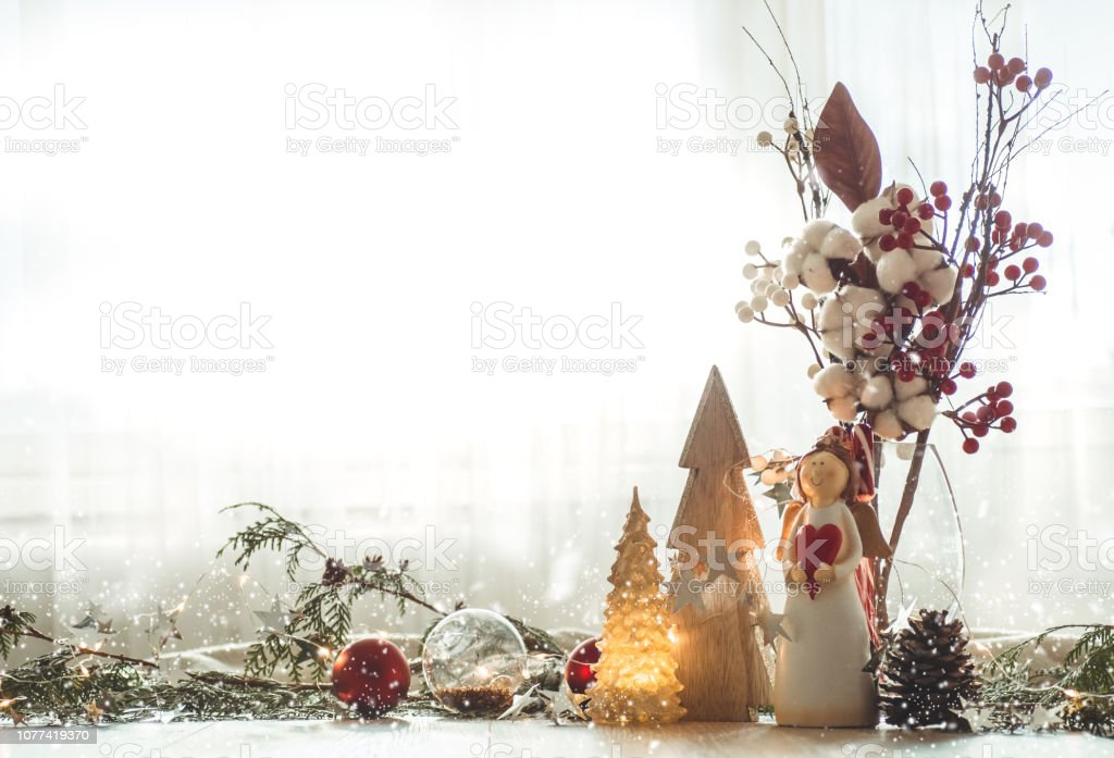 Christmas festive decor still life on wooden background, concept of home comfort and holiday stock photo