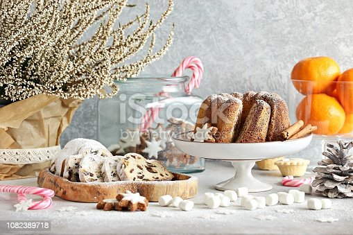 istock Christmas festive dessert table 1082389718