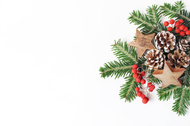 christmas festive styled floral composition. pine cones, fir tree branches, red rowan berries and wooden stars on white table background. decorative frame, web banner. flat lay, top view. copy space. - composition stock pictures, royalty-free photos & images