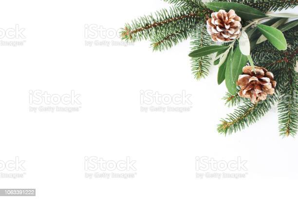 Photo of Christmas festive styled stock composition. Decorative corner. Pine cones, Fir and olive tree leaves and branches white wooden background. Flat lay, top view. Copy space.