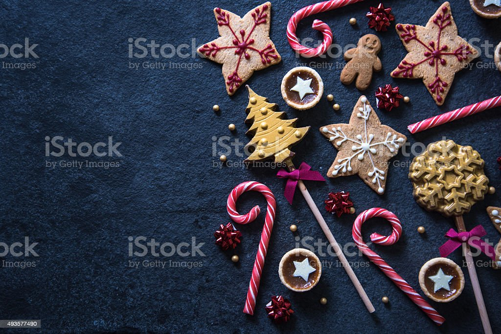 Christmas festive sweets food background