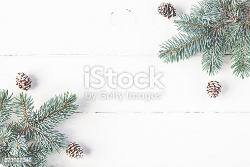 istock Christmas fir branches on white background. Flat lay, top view 873267046