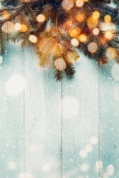 Christmas fir branches with lights on wooden planks Fir branches on blue wooden planks with lights bokeh. Copy space holiday background stock pictures, royalty-free photos & images