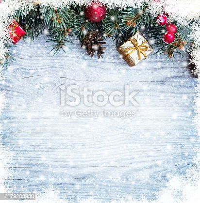 istock Christmas fir tree branches with toys 1179208930