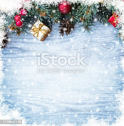 istock Christmas fir tree branches with toys 1179842178