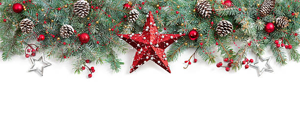 christmas fir tree decorated on white - christmas decoration stock photos and pictures