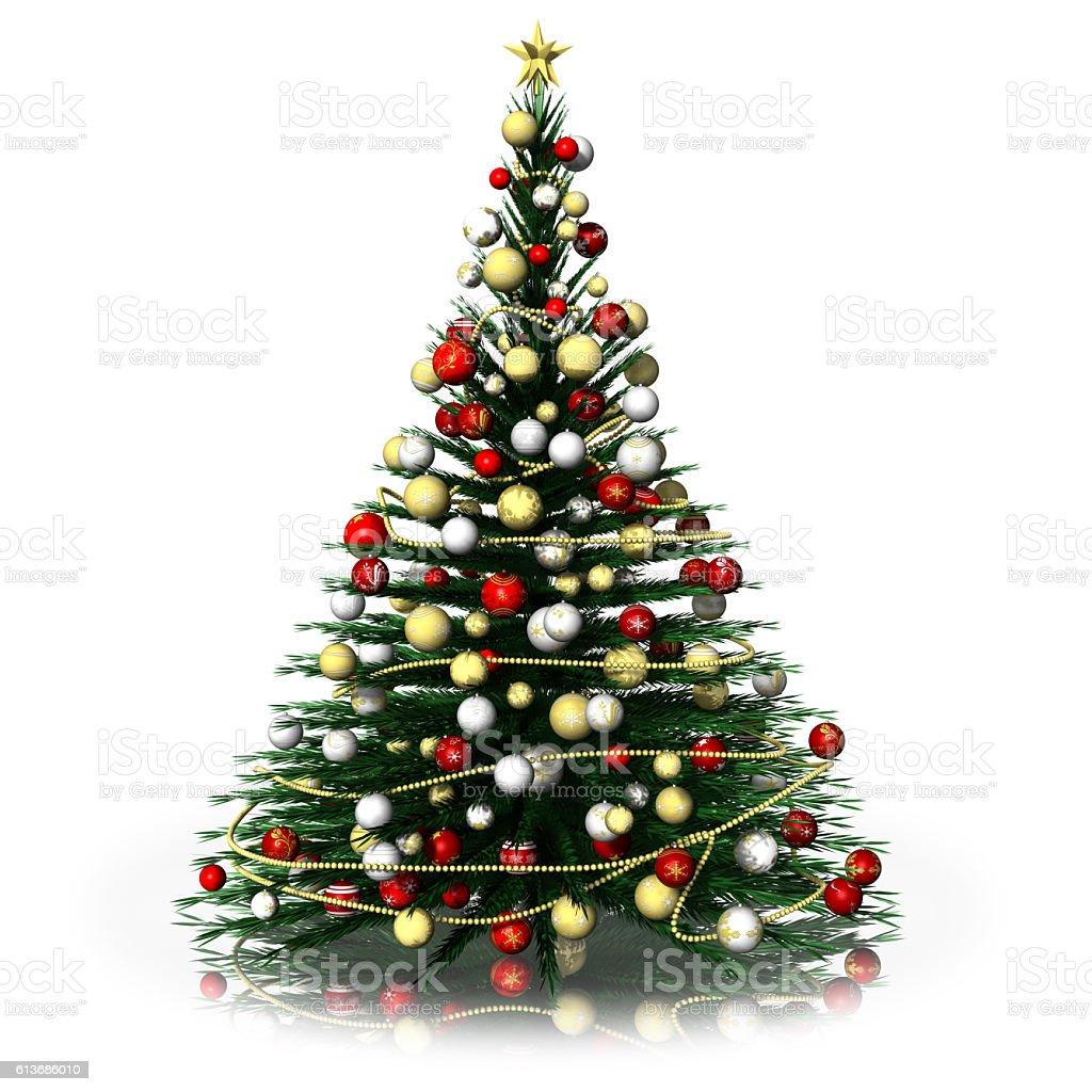 Christmas Fir Tree Decorated White Background Stockfoto Und