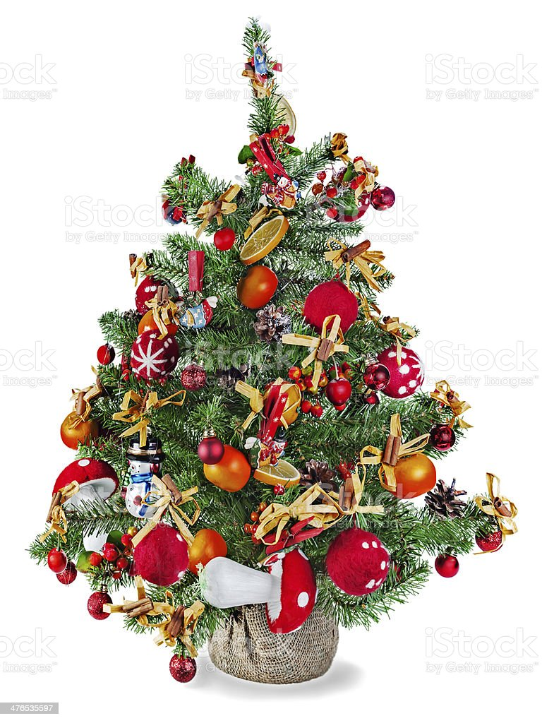Christmas fir tree decorated with toys and decorations isolated royalty-free stock photo