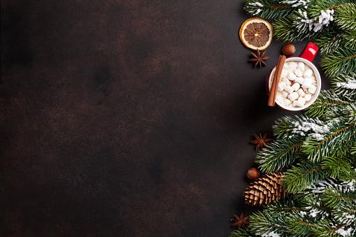 istock Christmas fir tree, hot chocolate and marshmallow 624592500