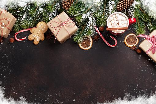 istock Christmas fir tree, hot chocolate and marshmallow 624925138