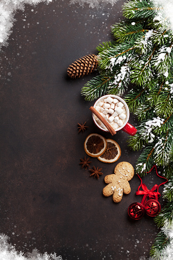istock Christmas fir tree, hot chocolate and marshmallow 871955960