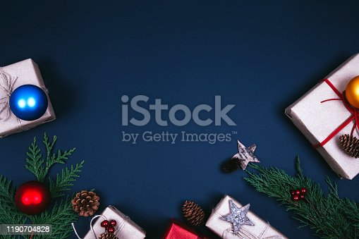 istock Christmas fir tree with decoration 1190704828