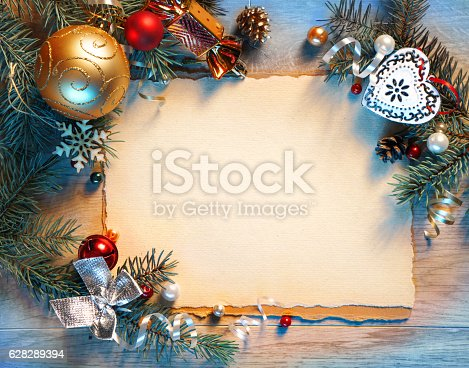 istock Christmas fir tree with decoration 628289394
