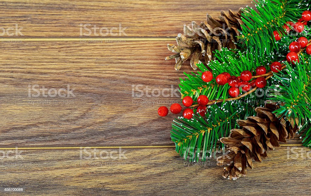 Christmas fir tree with decoration wooden board royalty-free stock photo
