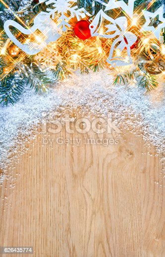 istock Christmas fir tree with lights and toys 626435774
