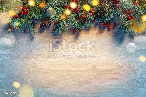 636659848 istock photo Christmas fir tree with lights 624979558
