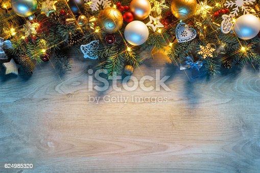 636659848 istock photo Christmas fir tree with lights 624985320