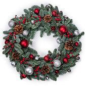 istock Christmas fir wreath isolated 1281026833