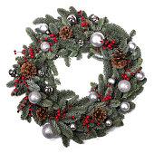 istock Christmas fir wreath isolated 1284688732