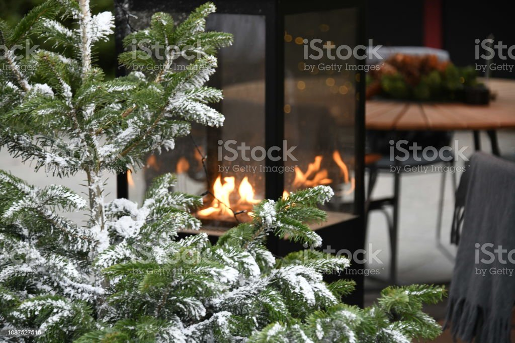 Christmas fire and tree in Denmark stock photo