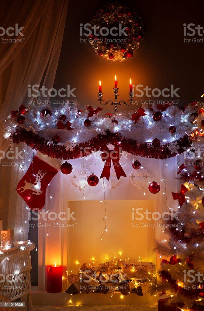 Christmas Fireplace in Night Lights Interior, Xmas Home Room...