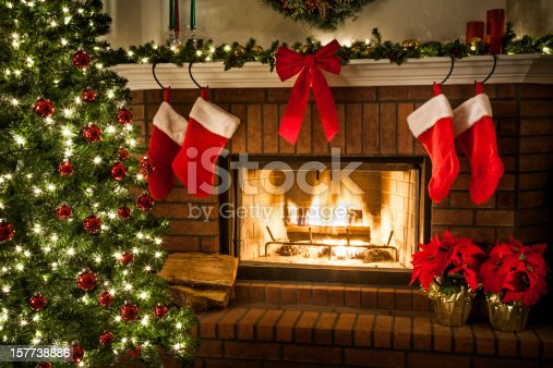 Christmas tree, decorations, lights, fireplace, mantle, hearth