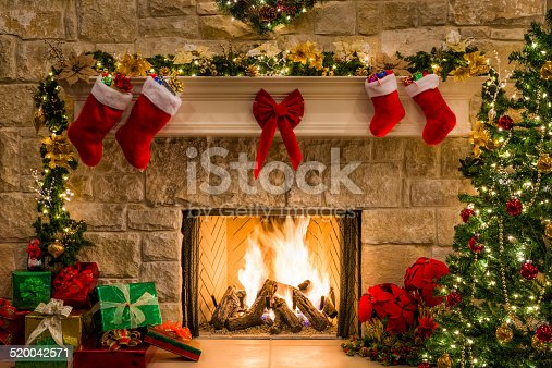 Christmas fireplace, tree, decorations, lights, mantel, hearth.
