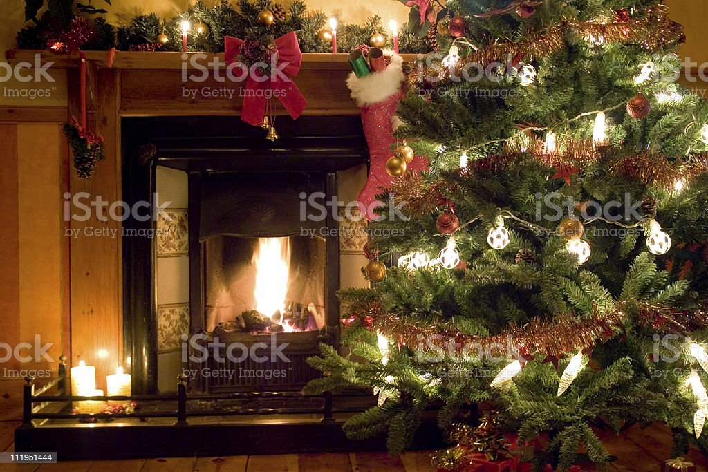 Christmas Fireside stock photo