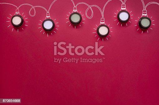 istock Christmas flat lay, Makeup string lights 870654668