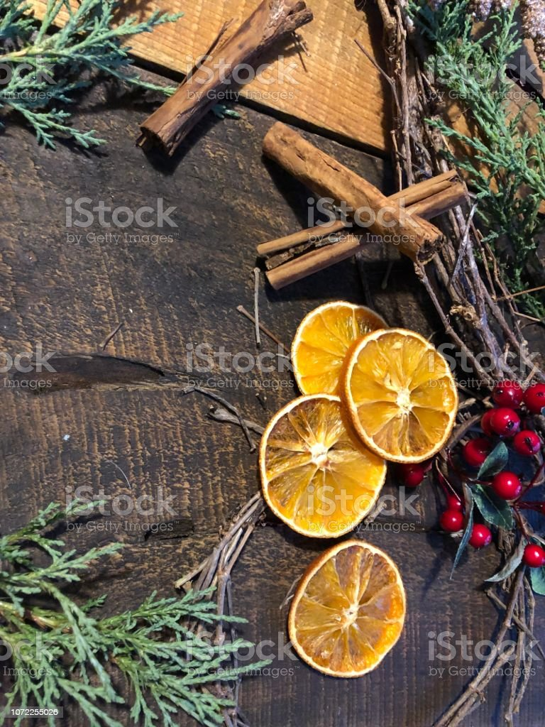 Christmas Flat Lay Rustic Holiday Decorations stock photo
