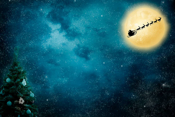 Christmas Flight Santa flies to deliver gifts. On night sky background sled stock pictures, royalty-free photos & images