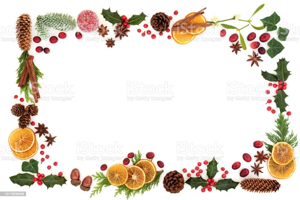 Christmas Flora And Food Background Border Stock Photo ...