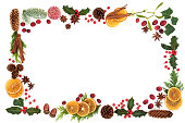 istock Christmas Flora and Food Background Border 1017826948