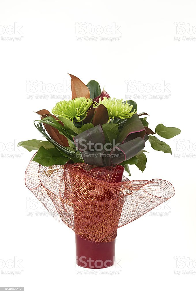 Christmas Flower Arrangement in Red Vase royalty-free stock photo